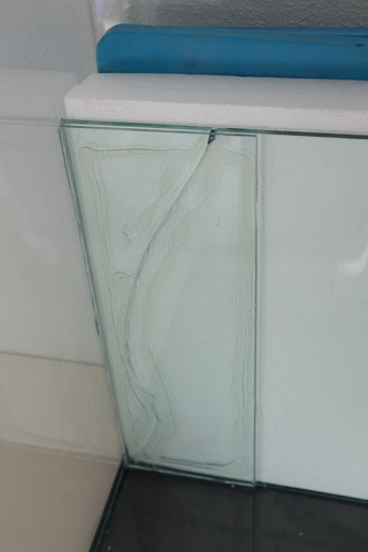 Glass glued onto the cracked glass separator