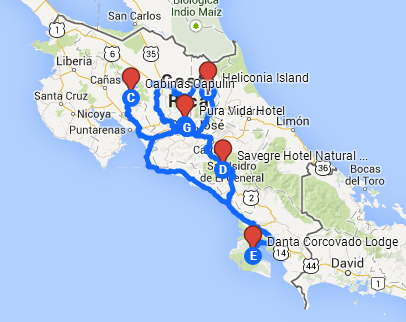 Routes we'll be travelling while in Costa Rica